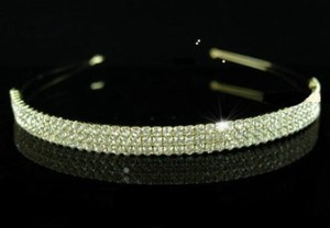 Gold Marina Austrian Crystal 3 Row Headband Tiara