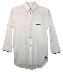 COMME des GARÇONS Shirt Three Quarter Sleeve Blue Button Down Shirt White