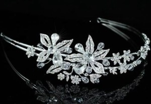 Silver Immaculate Swarovski Crystal Floral Side Accented Headband Tiara