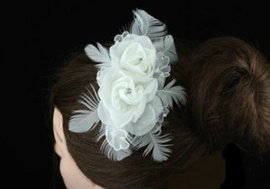 Adelaide Chic Ivory Fabric & Rhinestone Rose Wedding Bridal Hair Comb - Ivory