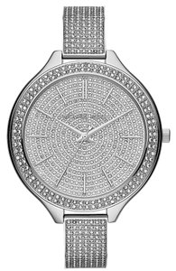 Michael Kors Silver Tone Crystal Pave Encrusted Designer Bling Ladies Watch