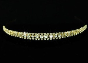 Abigail Gold Austrian Crystal & Rhinestone 3 Row Wedding Bridal Tiara Headband