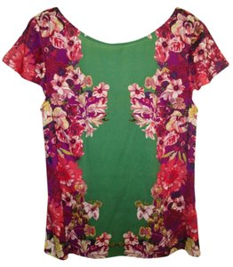 Ann Taylor Floral Scoop Back Polyester Top Green Multi