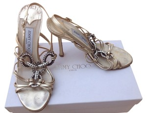 Jimmy Choo Gold Leather Gold metallic Sandals