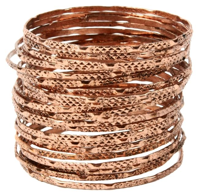 Item - Rose Gold Carved Metal Set 24 Bangle Bracelet