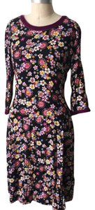 Hanna Andersson short dress Multi-color Floral Calico Velvet Trim on Tradesy