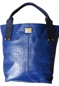 Diane von Furstenberg Dvf Addison Blue Ostrich Embossed Work Tote in Electric Blue