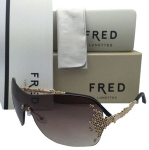 Fred Lunettes New FRED LUNETTES Sunglasses PEARLS F7 8450 206 Gold Champagne Frame w/ Brown Gradient Lens