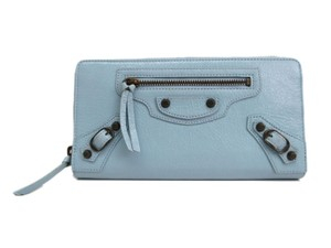 Balenciaga Auth BALENCIAGA Continental Zip Wallet Lambskin Light Blue 253036 (BF094581)