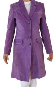 Cripple Creek Suede Silver Stitching Trench Coat