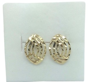 14K Solid Yellow Gold Diamond Cut Stud Earring