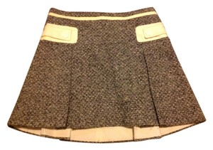 Marc Jacobs Leathers Accents Zip Closerure Mini Skirt Black and creme tweed