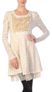 Ryu short dress Cream Pearl Lace Empire Waist Longsleeve A-line Ruffle on Tradesy