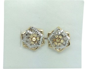 Other 14K Two Tones Diamond Cut Stud Earring