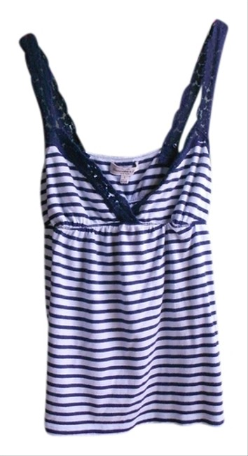 Abercrombie & Fitch Juniors Hollister Hco Striped Stripe Horizontal Stripe Lace V-neck V Neck Gathered Empire Waist Casual Dressy Casual Top Blue