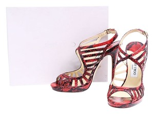 Jimmy Choo Python Print Red Red/Black Pumps