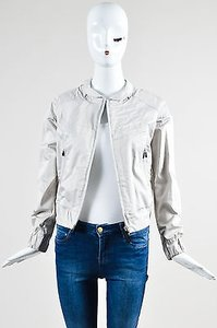 MCQ by Alexander McQueen Silver Cotton Long Sleeve Zip Cream Jacket
