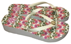 Tory Burch Gold Pink Paisley Logo Flip Flop Ivory (closer to white) Sandals