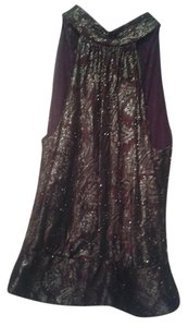 Carmen Marc Valvo Top maroon with golden beading