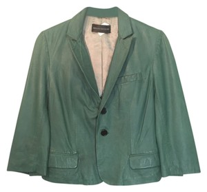 Zadig & Voltaire Lambskin Lamb Leather Jacket Cropped Green Blazer