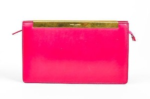 Saint Laurent Magenta Gold Tone Leather Lutetia Box Pink Clutch