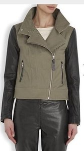 Mackage Andra Womens Black Leather Assymetric Motorcycle Biker Khaki Jacket