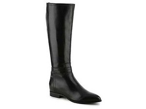 Nine West Ogara Womens Leather Knee Height Riding Black Boots