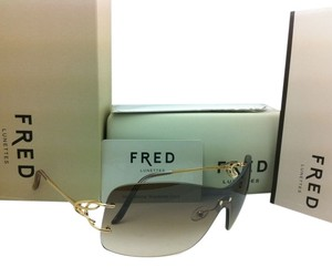 Fred Lunettes New FRED LUNETTES Sunglasses VOLUTE SOLAIRE F1 206 Gold Champagne Frame w/ Brown Gradient Lenses