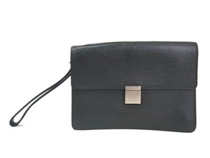 Louis Vuitton Auth LOUIS VUITTON Selenga Clutch bag Taiga Ardoise M30782 (BF094599)