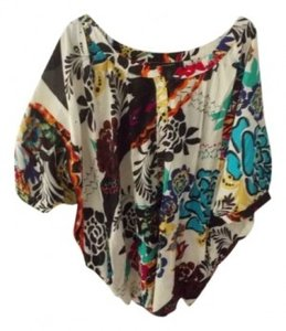 Grace Elements Loose Fitting Short Sleeve No Collar Button Down To Bust Floral Design. Top Multi color