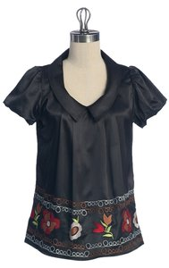 Anthropologie Peasant Embroidered Top BLACK