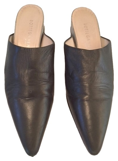 Bottega Veneta Olive Leather with Reflective Heel Mules