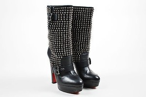 Christian Louboutin Suede Leather Studded Marisa Black Boots