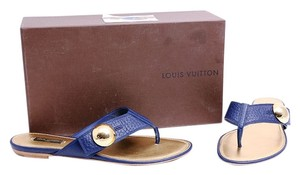 Louis Vuitton Blue Gold Leather Sandals * Blue Flats