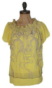 Anthropologie Peasant Embroidered Top yellow