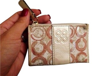 Coach Coach Metallic Leather Keychain Wallet