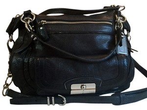 Coach Leather Nickel Hardware Satchel in black