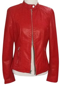 Black Rivet Zippers Casual Chic Career Red Leather Jacket