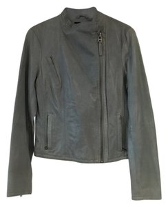 AllSaints Gray Grey Leather Zippered Leather Jacket
