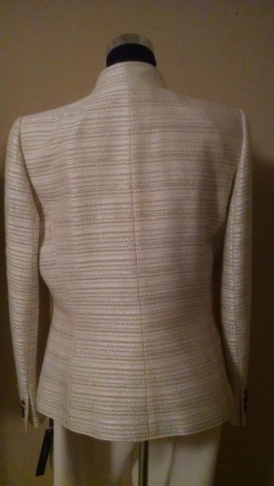 Tahari White with Silver Accent Polyester Rayon Wool Blend Arthur S. Levine Modern Bridesmaid/Mob Dress Size 8 (M)