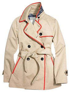 Coach Trench Khaki Orange Leather Trim Short Trench Trench Coat