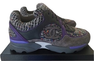 Chanel Sneakers Tweed Suede Gray Purple Athletic