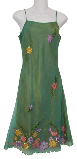 Preload https://item2.tradesy.com/images/multi-green-silk-embroidered-knee-length-short-casual-dress-size-8-m-1127856-0-0.jpg?width=400&height=650