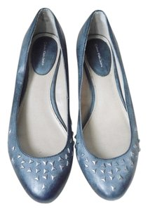 Calvin Klein Leather Metal Studs Classic Edgy Low Heel Work Evening slate blue Flats