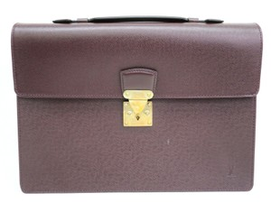 Louis Vuitton Auth LOUIS VUITTON Serviette Kourad Briefcase Taiga Acajou M30076 (BF086080)
