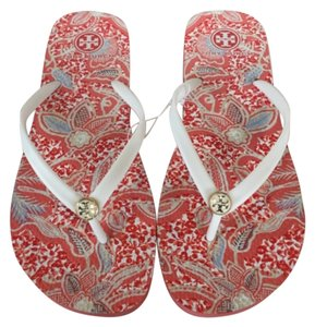 Tory Burch Ivory Red Multi Sandals