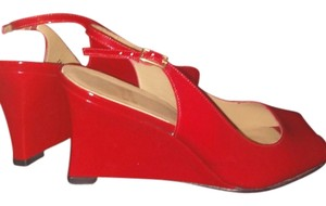 Stuart Weitzman Red Patent Leather Wedges