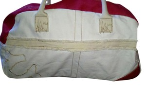 a0854b2f4a True Religion Duffle Tote Canvas Red   WHite Travel Bag