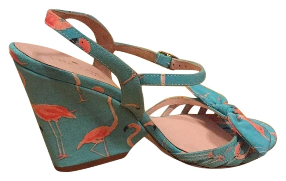 48cdb74c2e8e Kate Spade Flamingo Bird Print New York Indie Wedges Size US 7.5 ...