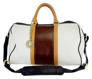 Charles Jourdan White Brown Tan Color Block Shoulder Bag